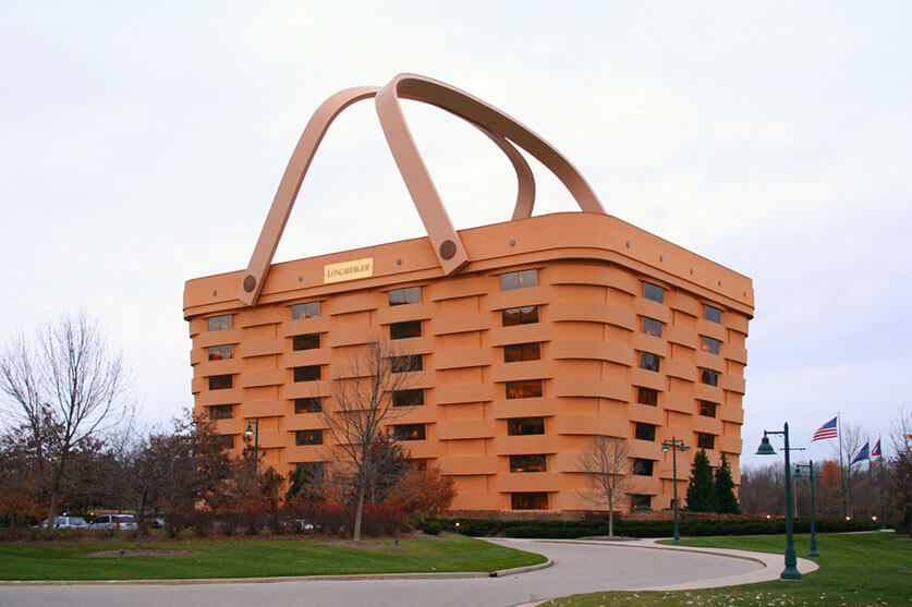 Newark-ohio-longaberger-headquarters-front by Tysto is used under the public domain. It is known as the Big Basket by locals.